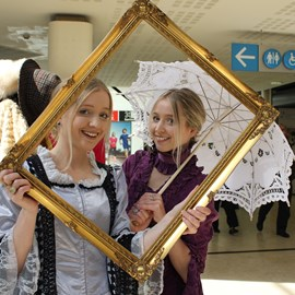 Hannah and Becky from Chester at the Selfie Station.JPG thumbnail